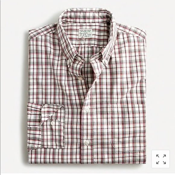 J. Crew NWT Slim Stretch Plaid Cotton Poplin Shirt